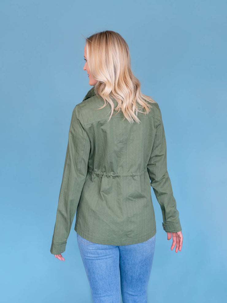 Women's Tall Utility Jacket Olive Back View