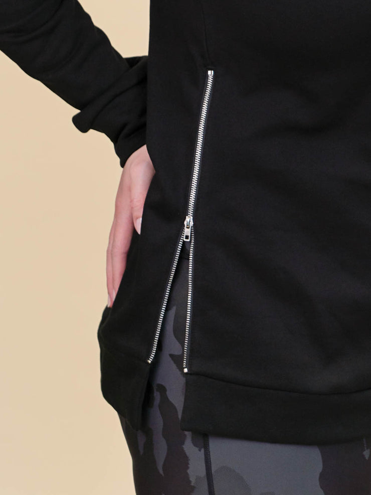Tall Black Side Zip Crewneck Sweatshirt Zipper Detailn