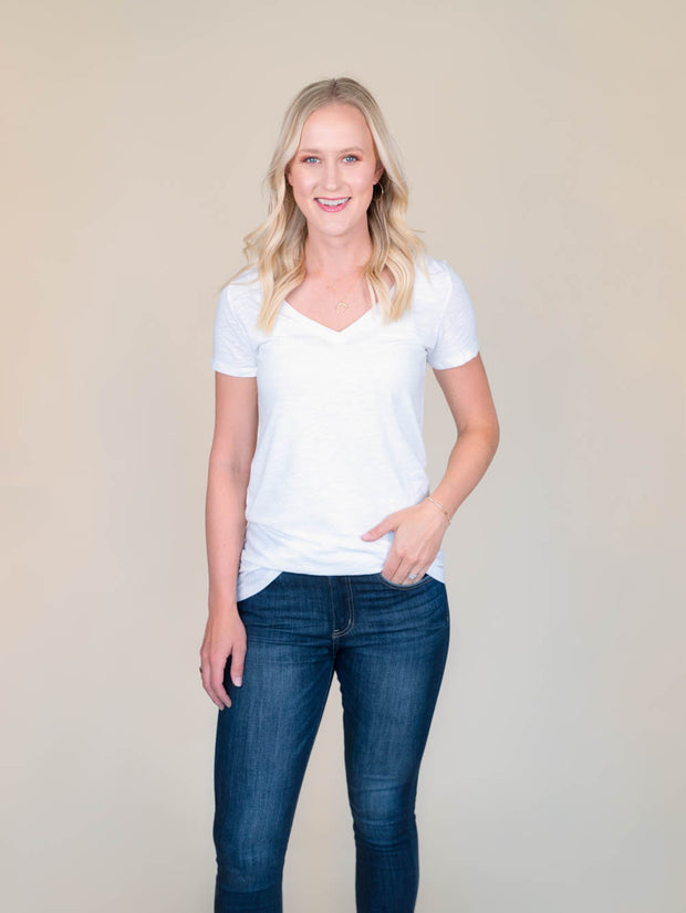 White v-neck t shirt for tall women front view