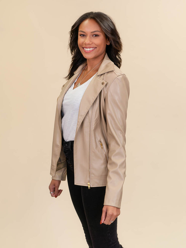 leather jacket for tall ladies tan fabric side shot