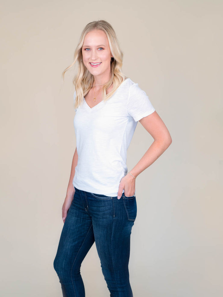 White v-neck t shirt for tall women side view