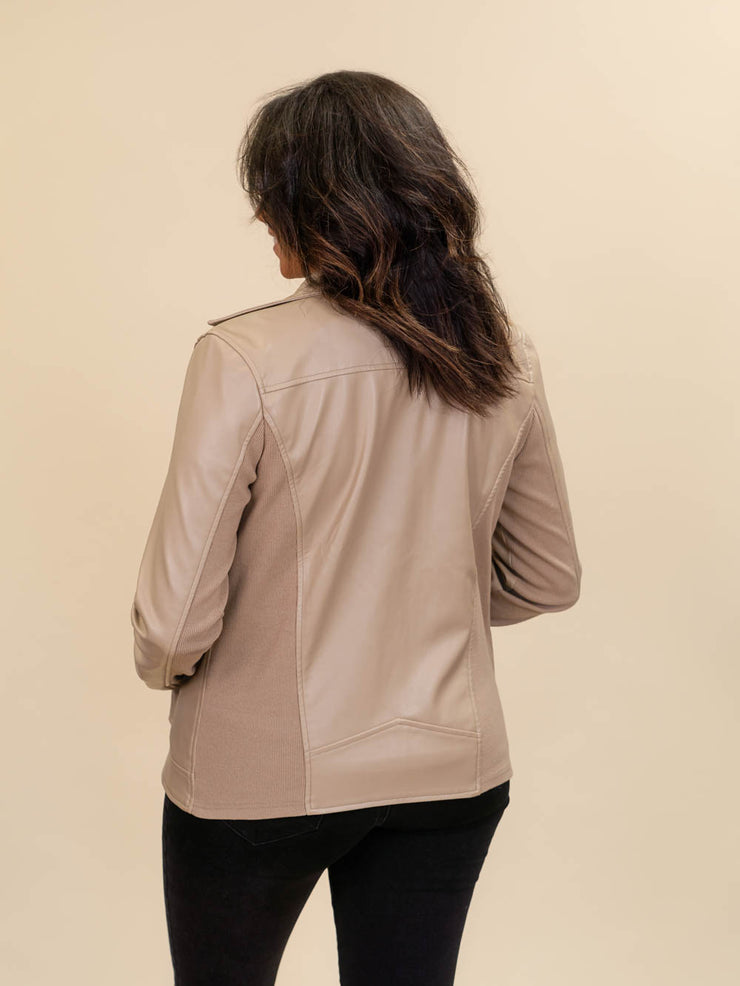 leather jacket for tall ladies back view