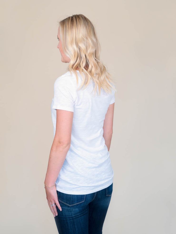 White v-neck t shirt for tall women back view