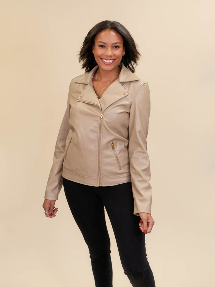 leather jacket for tall ladies fully zipped