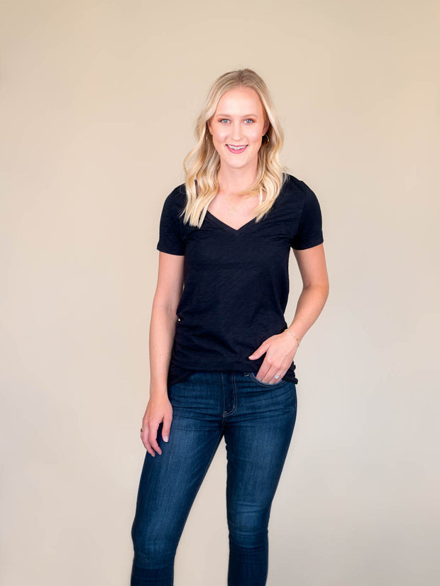 Black v-neck t shirt for tall women front view