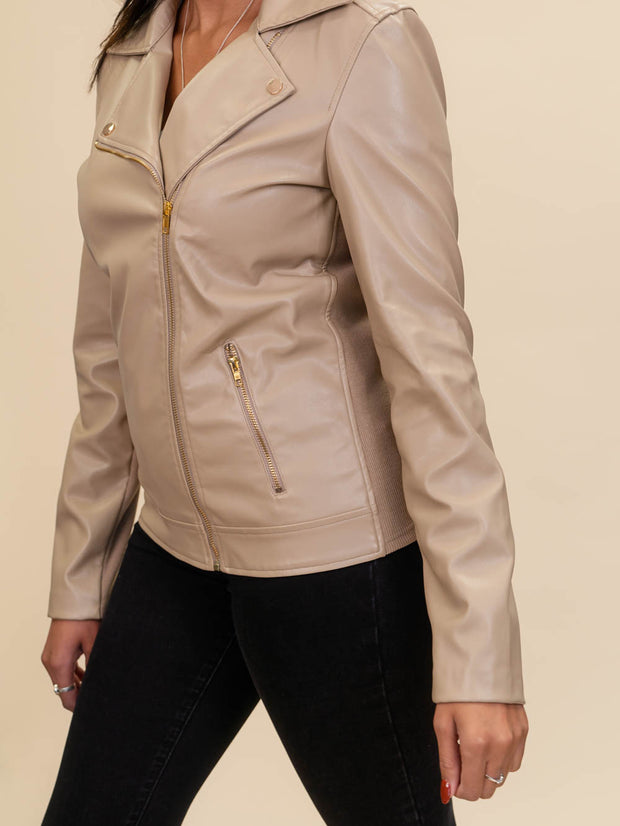 close up detail of tall leather jacket for women