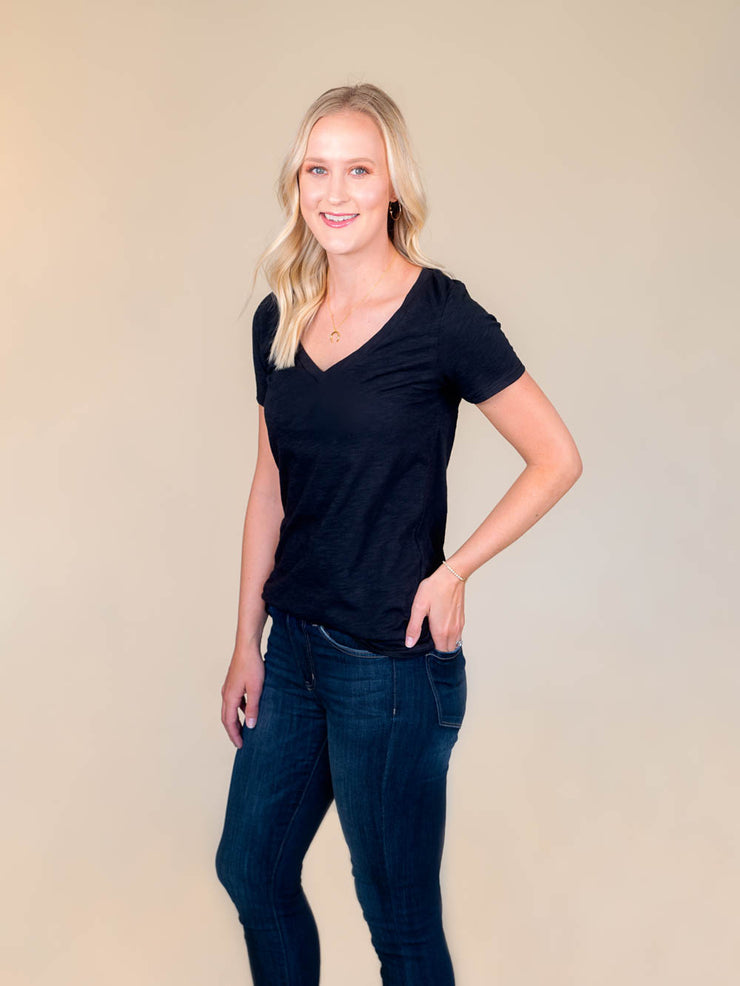 Black v-neck t shirt for tall women side view
