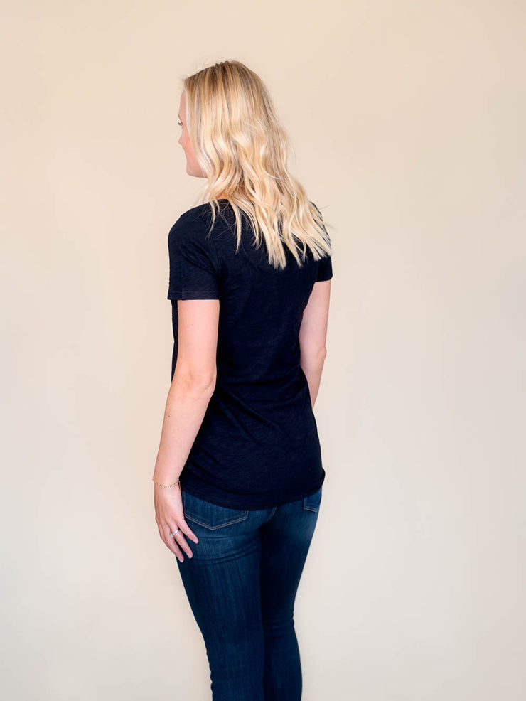 Black v-neck t shirt for tall women back view