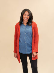 Red Cardigan for Tall Ladies Front