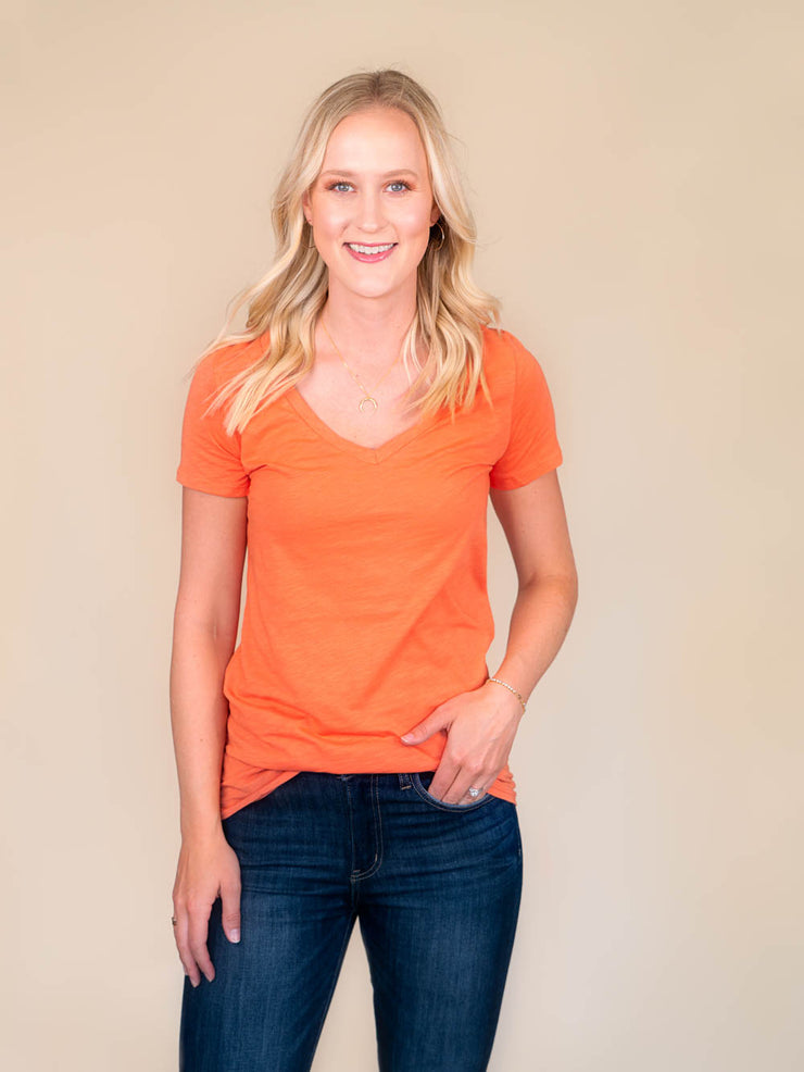 Orange v-neck t shirt for tall women front view