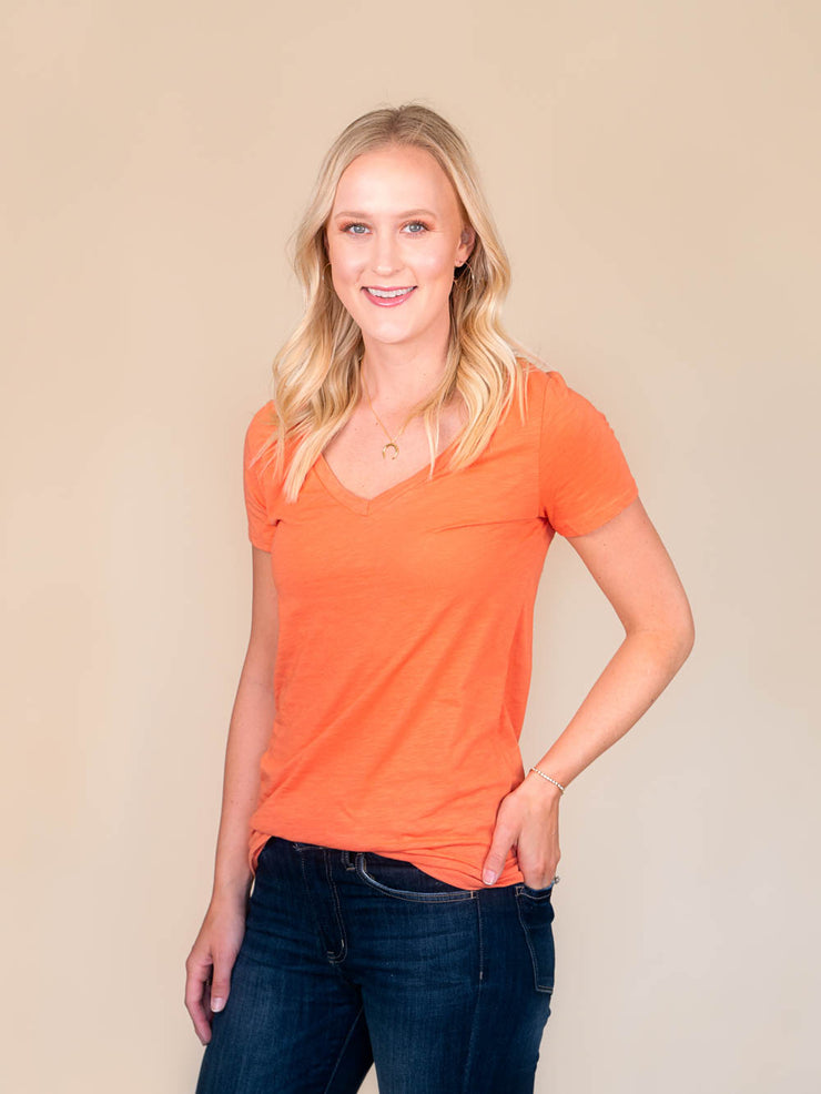 Orange v-neck t shirt for tall women side view
