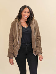 Tall Teddy Coat Brown Front View Unzipped