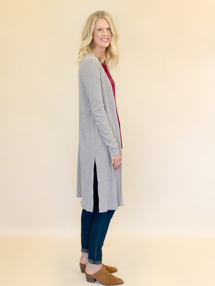 Oatmeal Ribbed Duster Cardigan