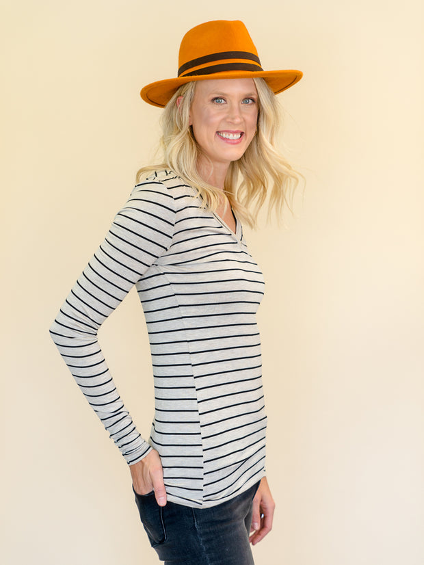 Striped V-Neck Long Sleeve Amalli Talli