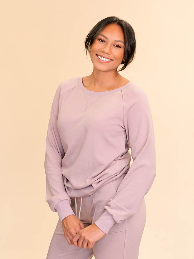 Crew neck sweatshirt in dusty lilac for tall women
