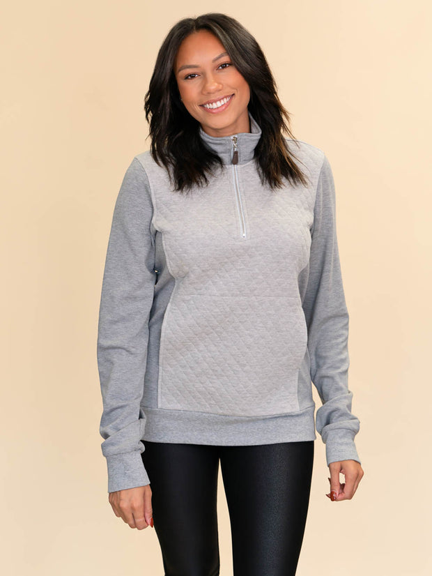 Grey Quilted Pullover for Tall Girls