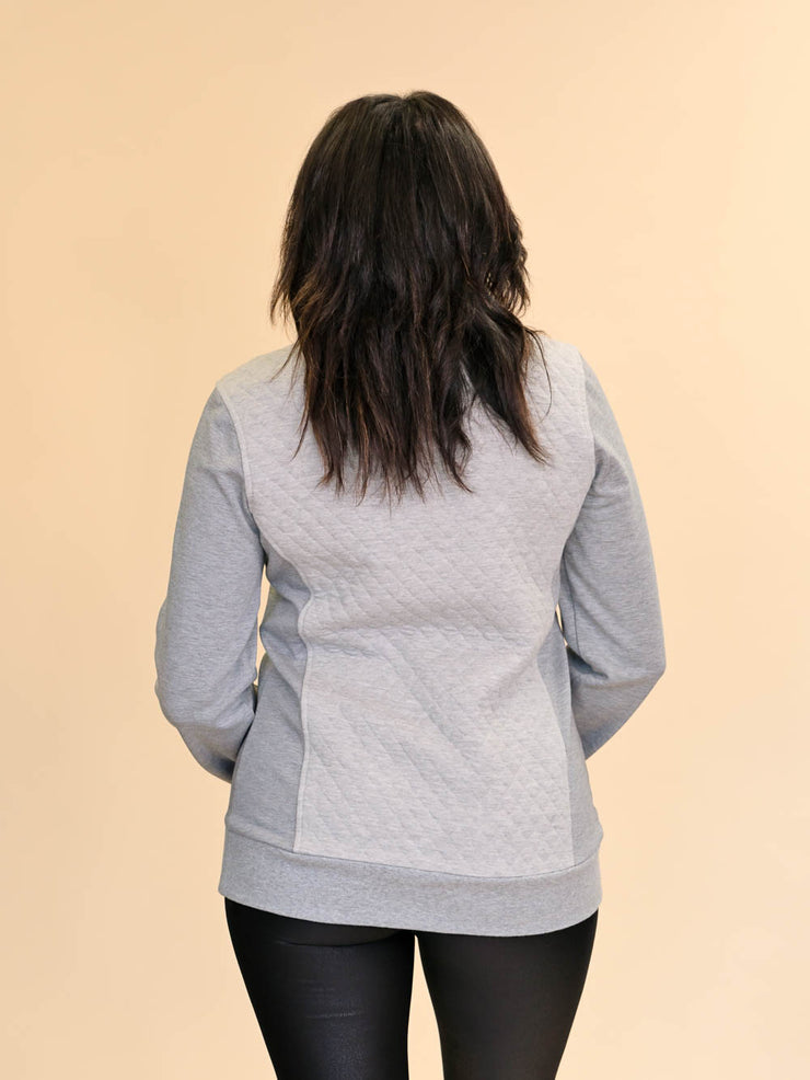 Quilted Tall Pullover - Tonal Grey