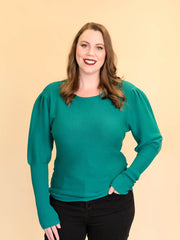 Tall Women's Sweater Puff Sleeve Emerald Green