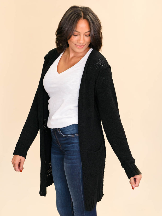 Tall Cardigan for ladies in black side view