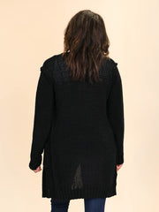 Tall Cardigan for ladies in black back view
