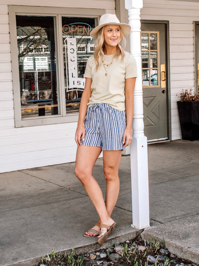 Navy striped midi shorts for tall girls