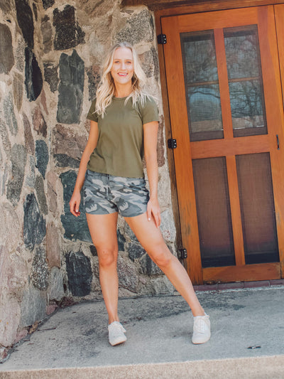 Camo Shorts for Tall Girls with long legs