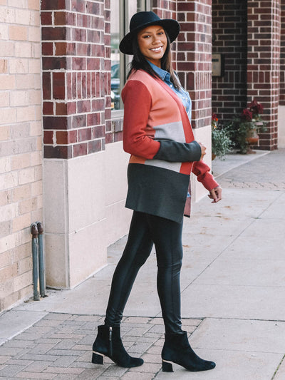 Red Colorblock Cardigan for Tall Women