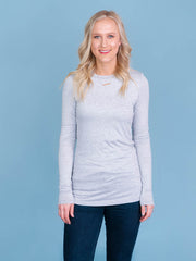 Women's tall long sleeve tshirt in grey