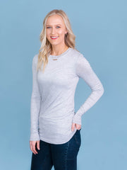 Women's tall long sleeve tshirt in grey side view