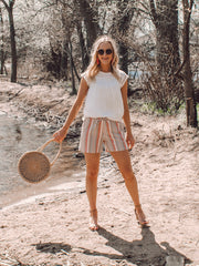 Coral striped midi shorts for tall girls