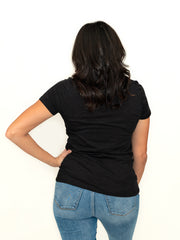 crew neck t-shirt in black for tall ladies