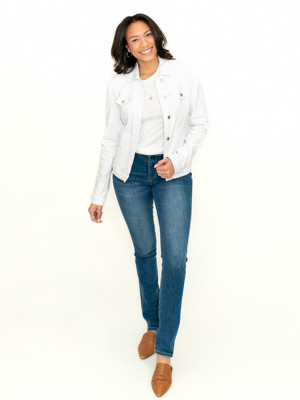 Hollis Tall Jean Jacket - White Wash