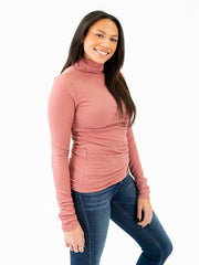 Ribbed Long Sleeve Tall Mock Neck - Dark Mauve