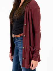 Ribbed cardigan for tall women up close