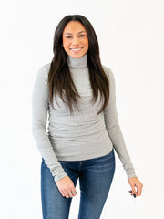Ribbed Long Sleeve Tall Mock Neck - Grey