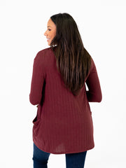 Ribbed cardigan for tall women back view