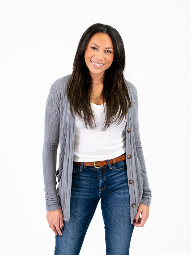 Ribbed cardigan for tall women grey color