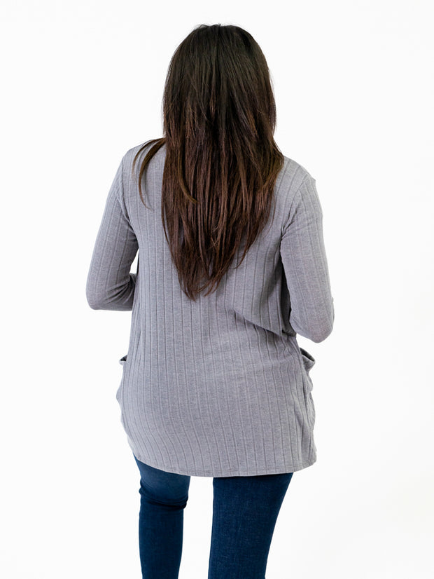 Grey Ribbed cardigan with extra long sleeves