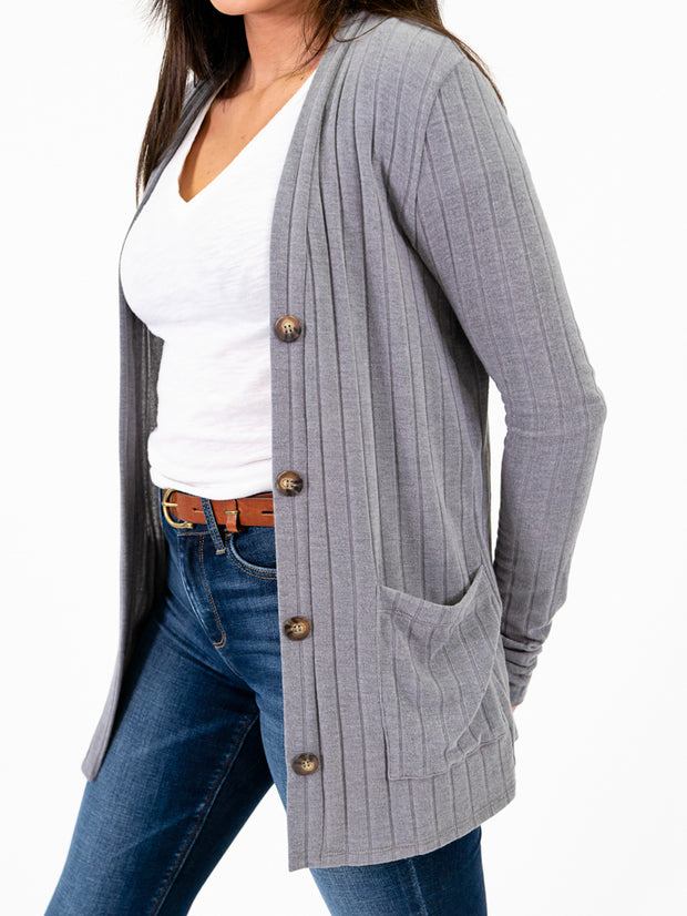 Ribbed cardigan with extra long sleeves grey up close