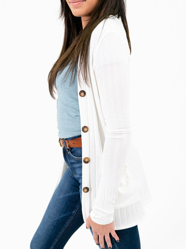 Ivory ribbed long sleeve cardigan for tall girls