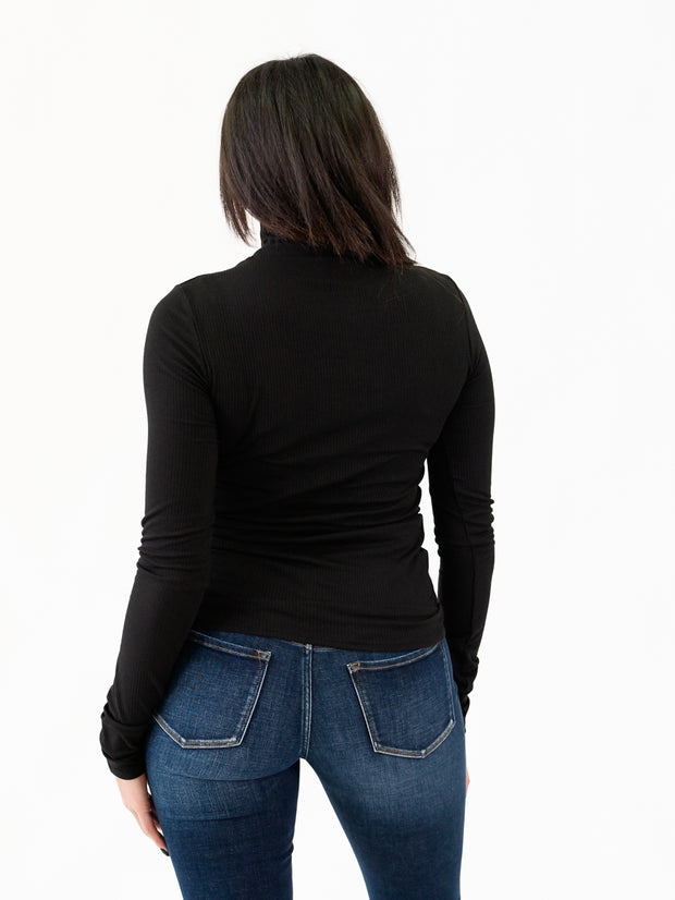 Ribbed Long Sleeve Tall Mock Neck - Black