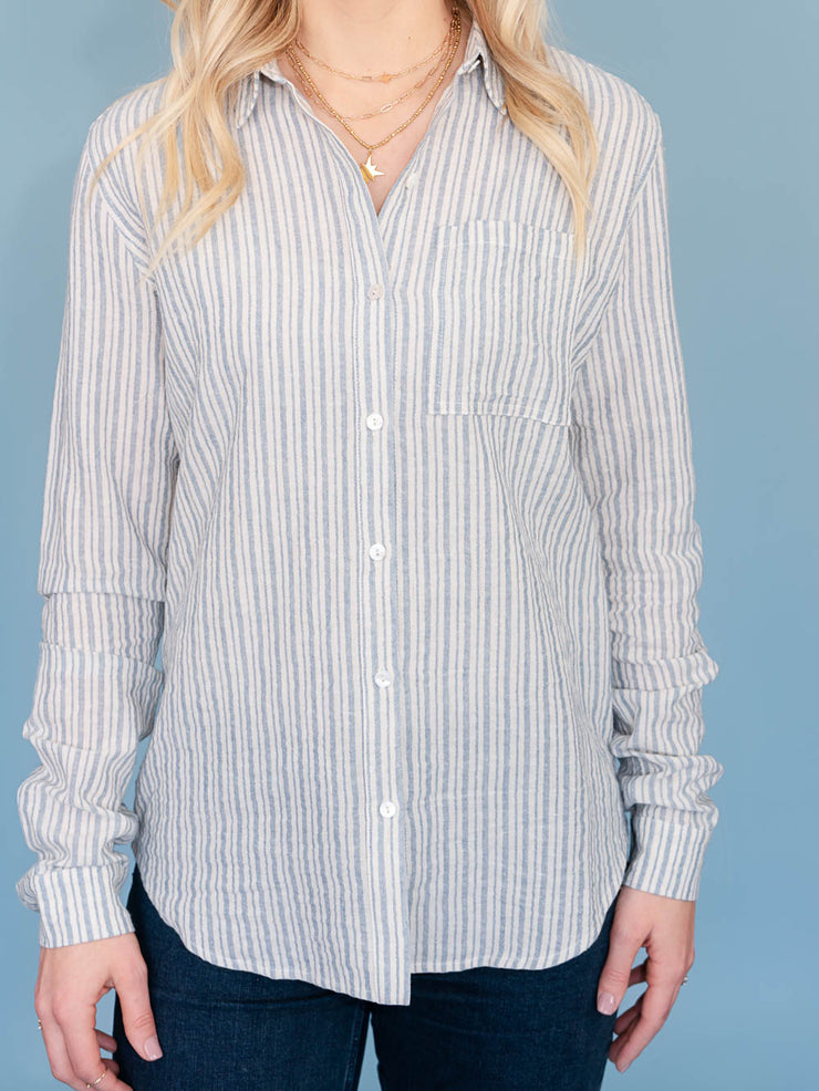 Lake striped button-up top for tall women