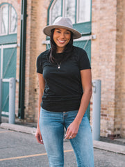 Black heathered crew neck t-shirt for tall girls