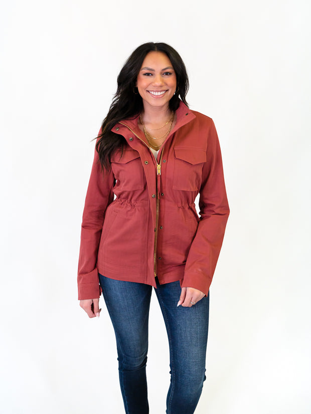 Utility jacket in rose for tall girls and women