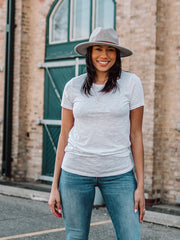 White heathered crew neck t-shirt for tall girls
