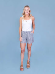 Navy Striped Midi Shorts for Tall Women Full Front View