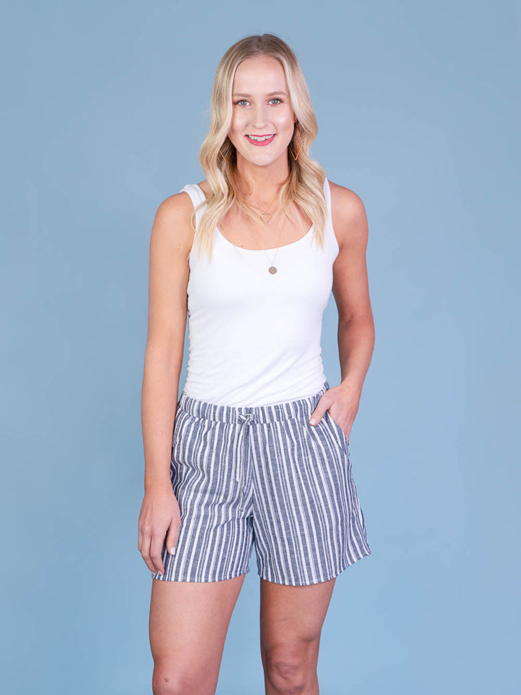 Navy Striped Midi Shorts for Tall Women Front View