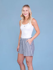 Navy Striped Midi Shorts for Tall Women Side View