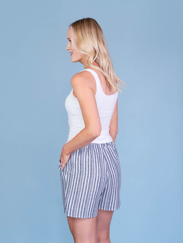 Navy Striped Midi Shorts for Tall Women Front ViewNavy Striped Midi Shorts for Tall Women Back View