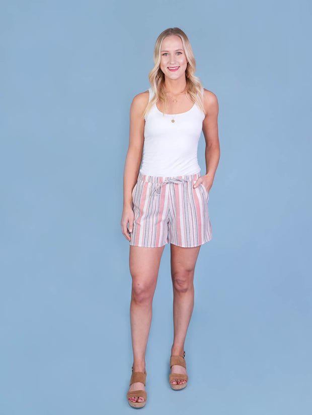 Multistriped Coral Midi Shorts for Tall Women Full Length View